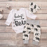 3-piece Trendy  Letter Print Bodysuit, Bear Patterned Pants and Hat Set