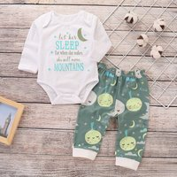 Stylish Letter Print Long-sleeve Romper and Cartoon Patterned Pants Set for Baby Girl