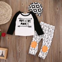 3-piece Stylish Arrow Print Long-sleeve Top, Pants and Hat Set for Baby Boy