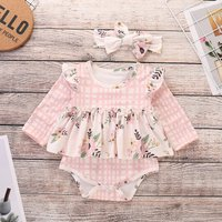 Pretty Plaid Ruffled Long-sleeve Romper in Pink for Baby Girl