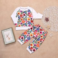 2-piece Pretty Floral Long-sleeve Top and Pants Set for Baby Girl