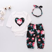 3-piece Sassy Long-sleeve Romper, Floral Pants and Headband Set for Baby Girl