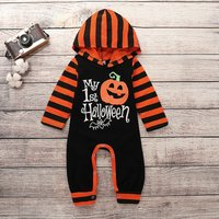 """Stylish """"My 1st Halloween """" Hooded Jumpsuit in Black for Baby Boy"""