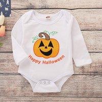 "Cute Pumpkin Print ""Happy Halloween"" Bodysuit in White for Baby"