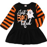 Stylish Halloween Ghost Striped Long-sleeve Dress for Baby and Toddler Girl