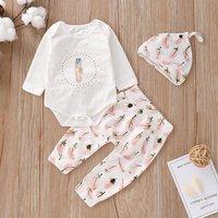 3-piece Cute Feather Print Bodysuit, Pants and Hat Set