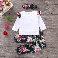 3-piece Flounced Long-sleeve Tee, Floral Pants and Headband Set for Baby Girl