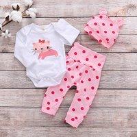 3-piece Cute Cat Print Bodysuit, Polka Dotted Pants and Hat Set