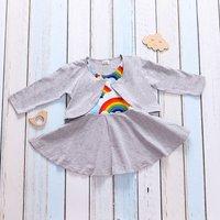 2-piece Stylish Rainbow Design Sleeveless Dress
