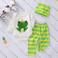 3-piece Cute Frog Print Bodysuit, Striped Pants and Hat Set