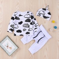 3-piece Fresh Cloud Patterned Top, Pants and Hat Set