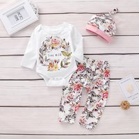 3-piece Stylish Floral Long-sleeve Bodysuit, Pants and Hat Set for Baby