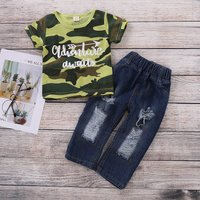 2-piece Casual Camouflage Top and Jeans Set