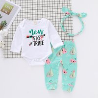 3-piece Lovely Letter Print Bodysuit, Floral Pants and Hat Set