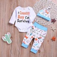 3-piece Cute Letter Print Bodysuit, Pants and Hat Set
