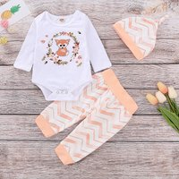 3-piece Casual Floral Fox Patterned Bodysuit, Striped Pants and Hat Set