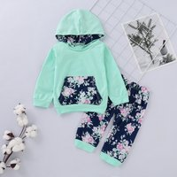 2-piece Fresh Long-sleeve Hooded Top and Floral Pants for Baby