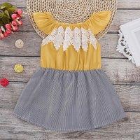 Boutique Chest Lace Decor Vertical Stripe Stitching Flounce-sleeve Dress