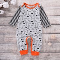 Fashionable Bear Print Striped Long-sleeve Jumpsuit for Baby