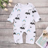 Pretty Rainbow Print Pony Pattern Long-sleeve Jumpsuit for Baby