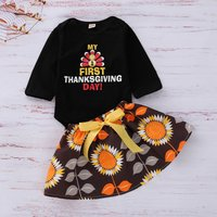 2-piece Trendy MY FIRST THANKSGIVING Bodysuit and Skirt Set