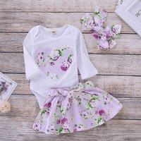 3-piece Pretty Heart Applique Bodysuit, Floral Skirt and Headband Set
