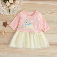 Adorable Running Deer Design Long-sleeve Dress for Baby