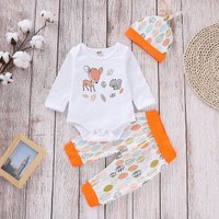 Cute Reindeer Print Romper, Leaf Patterned Pants and Hat Set