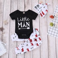 Trendy Letter Print Romper, Animal Patterned Pants and Hat