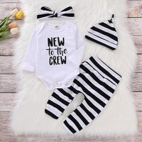 Trendy Letter Print Romper, Striped Pants, Headband and Hat Set