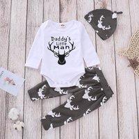 Fashionable Reindeer Print Long-sleeve Romper, Pants and Hat Set