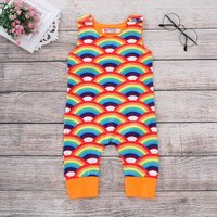 Trendy Allover Rainbow Sleeveless Overalls Jumpsuit for Baby