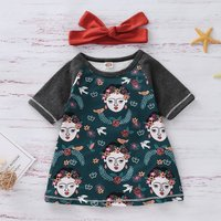 2-piece Causal Cartoon Girl Patterned Color Blocked Dress and Solid Bow Headband Set