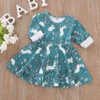 Lovely Rabbit and Flower Allover Long-sleeve Dress in Blue