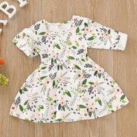 Fresh Flower and Green Leaf Allover Long-sleeve Dress