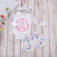 3-piece Lovely Wreath and Flower Print Bodysuit, Skirt and Headband Set