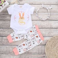Lovely Happy Easter Rabbit Tee, Pants and Headband Set for Baby