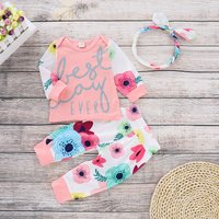 "Beautiful ""Best Day Ever"" Floral Print Long-sleeve Top, Pants and Headband"