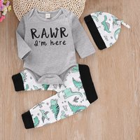Cute Letter Dino Print Bodysuit, Pants and Hat Set for Baby