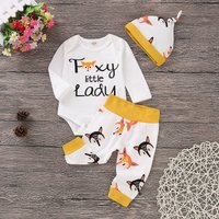 Lovely Fox Patterned Romper, Pants and Hat Set