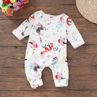 Chic Animal Print Floral Long-sleeve Jumpsuit for Baby