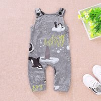 Fashionable Penguin Sleeveless Jumpsuit in Grey for Baby