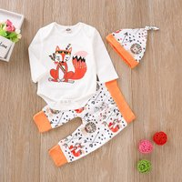 Pretty Fox Print Long-sleeve Bodysuit Splice Pants and Hat Set for Baby