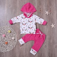 Stylish Floral Deer Head Patterned Hoodie and Pants Set