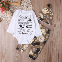 3-piece Fun Words Boots and Cowboy Hat Bodysuit, Pants and Hat