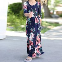 Comfy Flower Allover Cinched Long-sleeve Maxi Dress