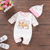 Cute Corgi Print Long-sleeve Jumpsuit and Hat Set