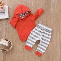 Trendy Solid Pocket Design Hoodie and Striped Pants Set