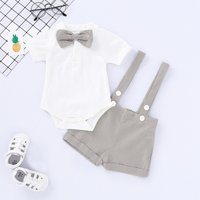 Handsome Solid Bow Tie Bodysuit and Suspender Shorts Set