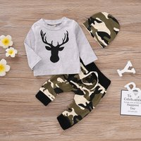3-piece Reindeer Print Top, Camouflage Pattern Pants and Hat Set